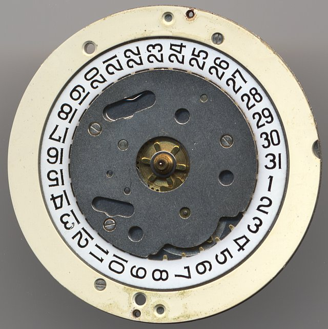 dial side view with date mechanism