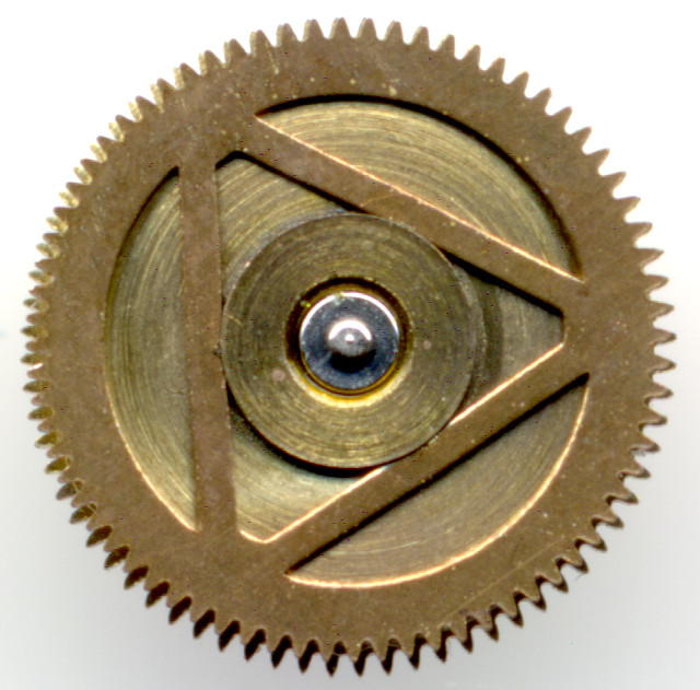 coupling gear on top of the mainspring barrel