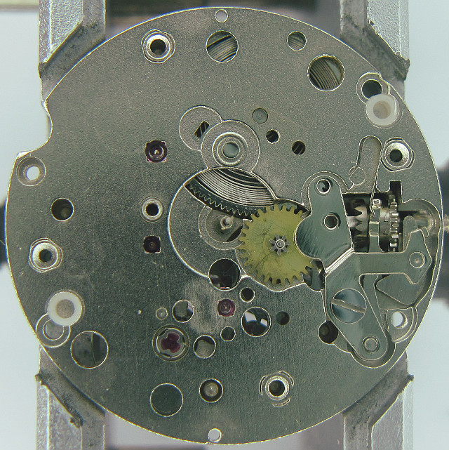 empty dial side with open mainspring barrel